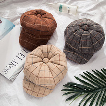 New Fashion Beret Hats For Girls Boys Plaid Octagonal Cap Newboy Hat For Women Wool Winter Beret Hats For Girls Female Gorro new fashion cute winter ear cap warm wool knitted beanis hat for baby girls boys apparel accessories gorro masculino 7z