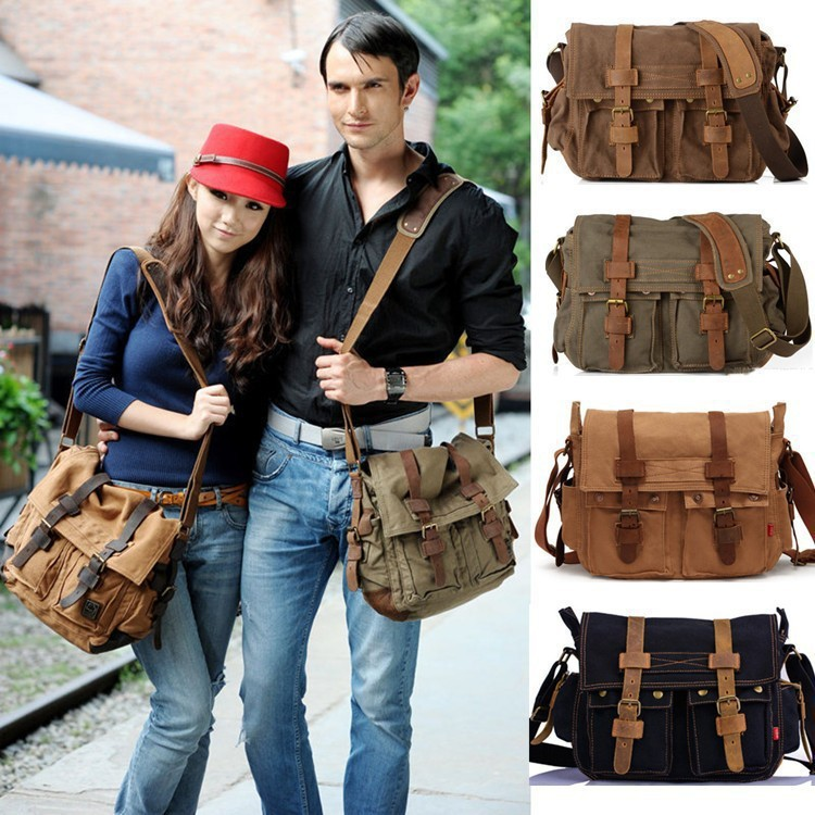 171898407ba Men cheap canvas leather school bag Will Smith military army messenger bags  laptop canvas satchel designer handbags high quality-in Men s Costumes from  ...