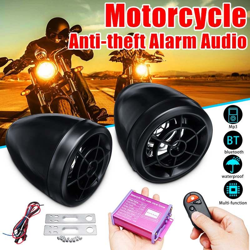 Motosiklet bluetooth Ses Su Geçirmez Anti-hırsızlık Alarm Sistemi Hoparlör FM Radyo MP3 Çalar Müzik Amplifikatör Uzaktan Kumanda ile