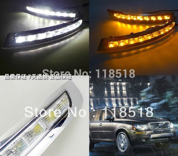 eOsuns LED daytime running light DRL for volvo xc90 2007-2013 abs with yellow turn singal LED fog lamp, wireless switch smk led drl daytime running light with yellow turn light function u style for buick excelle xt opel astra j 2009 2013