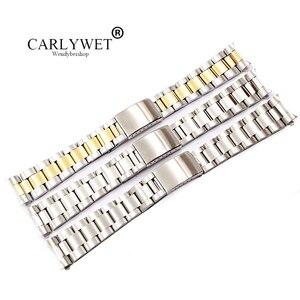 Image 1 - CARLYWET 19 20 ملليمتر 316L الفولاذ المقاوم للصدأ اثنين لهجة الذهب ساعة فضية الفرقة سوار الجوف منحني نهاية خمر المحار