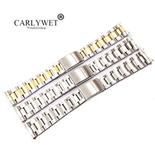 CARLYWET 19 20mm 316L Stainless Steel Two Tone Gold Silver Watch Band Strap Old Style Oyster Bracelet Hollow Curved End  все цены