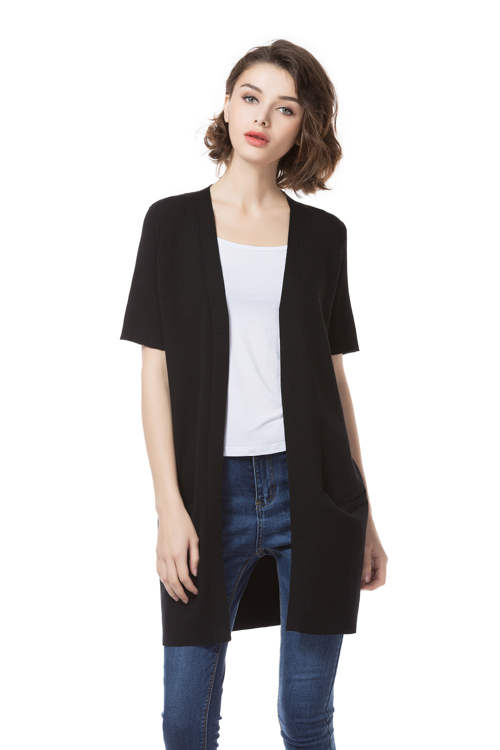 Buy black short sleeve cardigan and get free shipping on ...