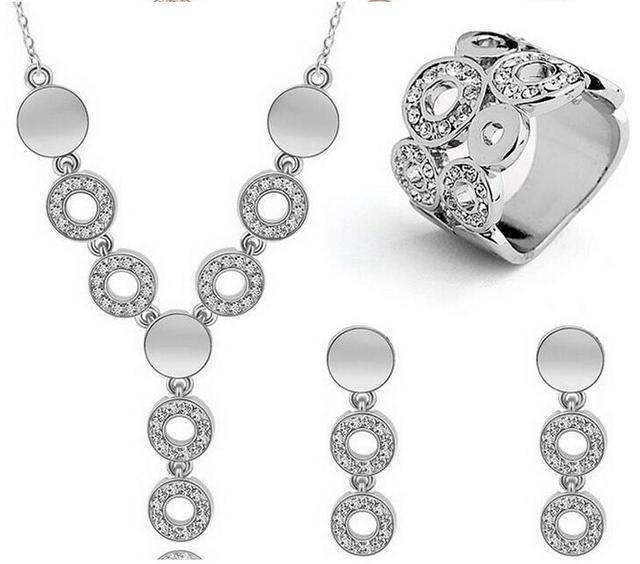 Silver/Golden Plated 3Pcs Jewelrys Sets Lovely Circle Design Choker Tassel Neckl