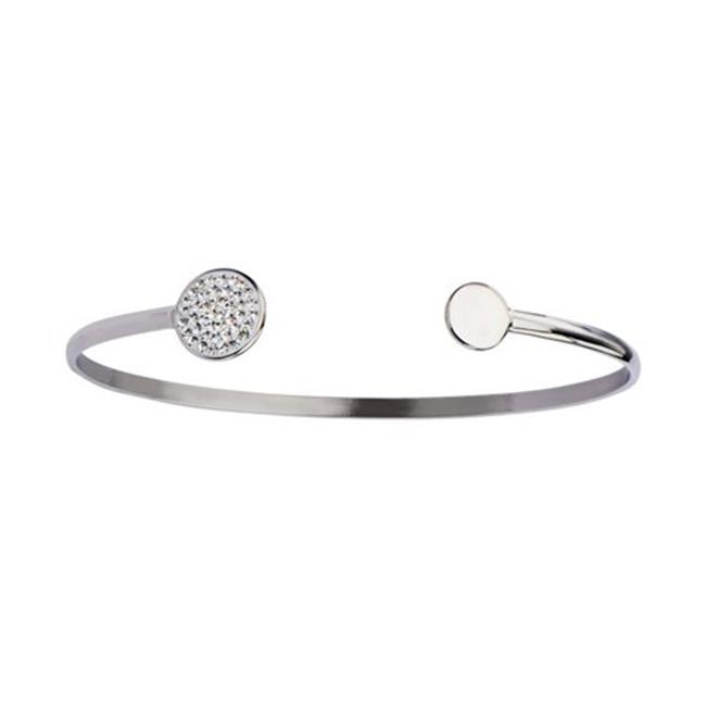 Inox Jewelry BR19817 Plain & Crystal Disc Open Cuff Bangle Stainless Steel Bracelet graceful faux crystal cuff bracelet