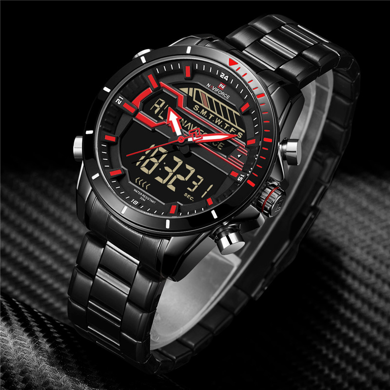 Vornehm Naviforce Luxus Marke Männer Analog Digital Leder Sport Uhren Herren Militär Led Uhr Mann Quarzuhr Relogio Masculino 9133 Uhren