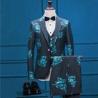 FOLOBE 2019 Tide Men Blue Peony Print Fashion Casual Suits Latest Designs Wedding Groom Stage Costume 3 PCS (Jacket+Pant+Vest )