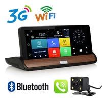 Новый 7 дюймов GPS навигации Видеорегистраторы для автомобилей Камера Android GPS 3G Двойной объектив Full HD 1080 P автомобилей видеорегистратор Регист