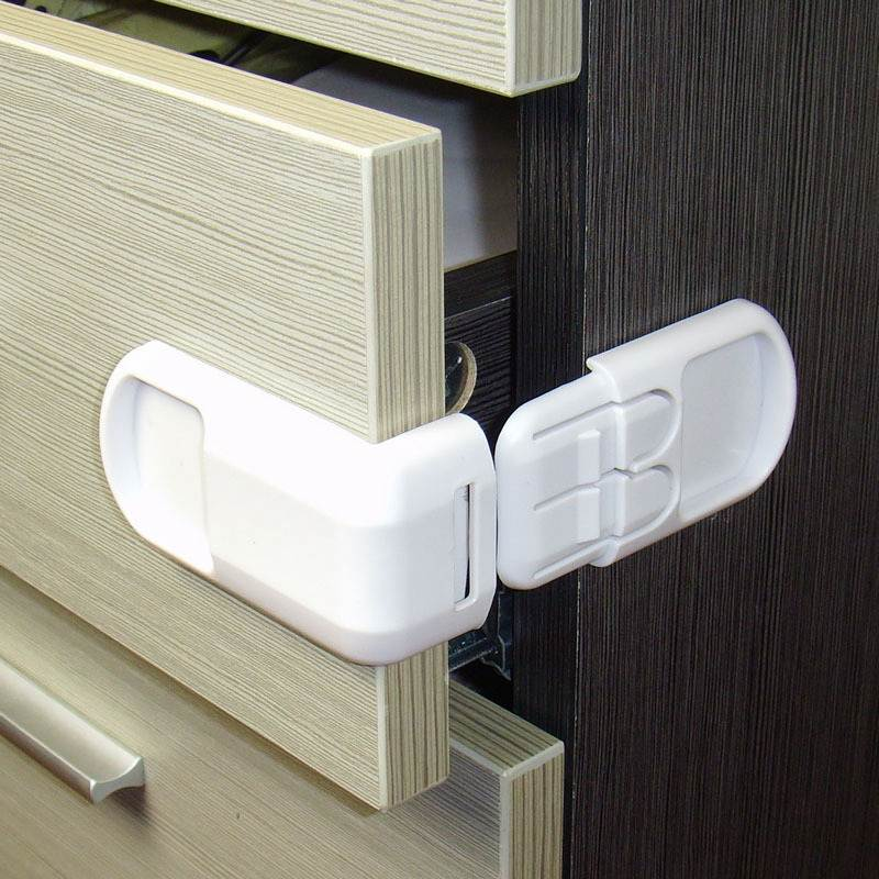 4pcs/lot Child Baby Safety Protector Lock Cabinet Locks&straps Baby Safety Lock Corner Edge Child Protection Refrigerator Lock