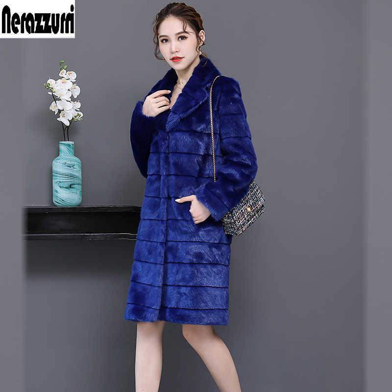 Nerazzurri casaco de pele do falso feminino 2019 inverno listrado safira azul peludo fofo falso vison casacos de pele plus size outwear 5xl 6xl
