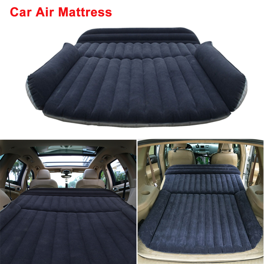 SUV Car Air Mattress Travel Bed Back Seat Cover Inflatable Blow Up Cushions Single Flocking Surface Multifunction for Camping drive travel deflatable air inflation bed mattress suv camping pvc material car seat cover cushion with car electric air pump