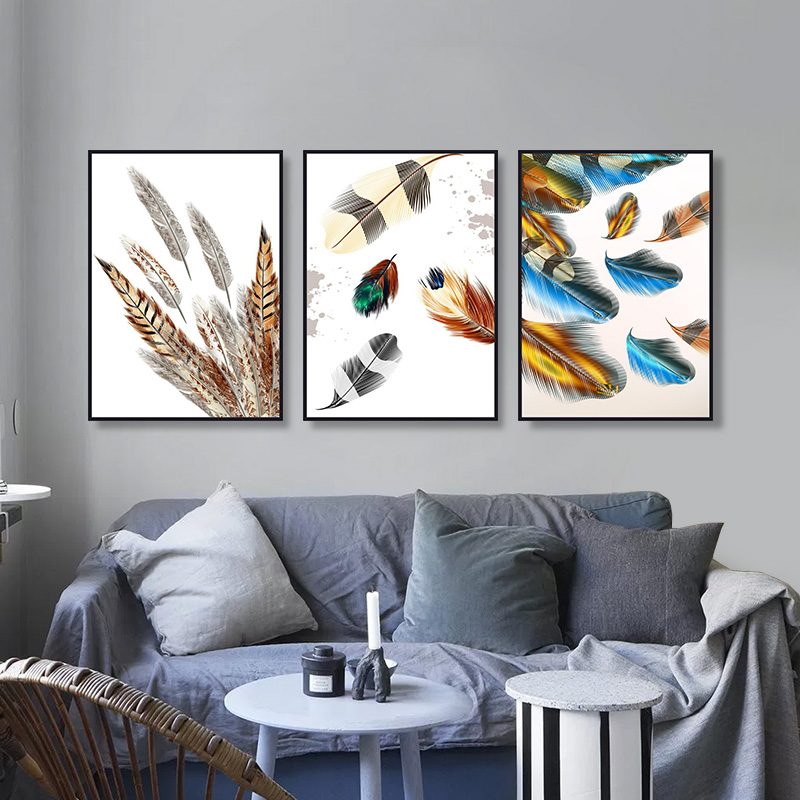 3Pcs Colourful Feather Modren Oil Painting Oil Painting Prins