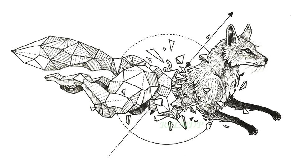 Водонепроницаемый временная татуировка лиса волк волки КИТ Сова Геометрическая животных Tatto flash tatoo поддельные татуировки для женщин девушки человек малыш 7