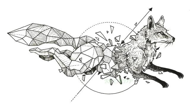 Tatouage Temporaire Impermeable Renard Loup Loups Baleine Hibou