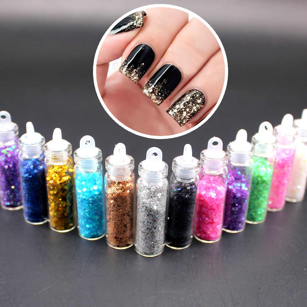 NEW Glass Bottle Packing Glitter Nail Striping Line Tape Sticker Set Art Decorations DIY Tips For Polish Nail Gel 2018 Hot