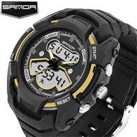 100 Original SANDA Sport Dual Time LED Digital Analog Military 3ATM Wrist Watch Wristwatches For Men