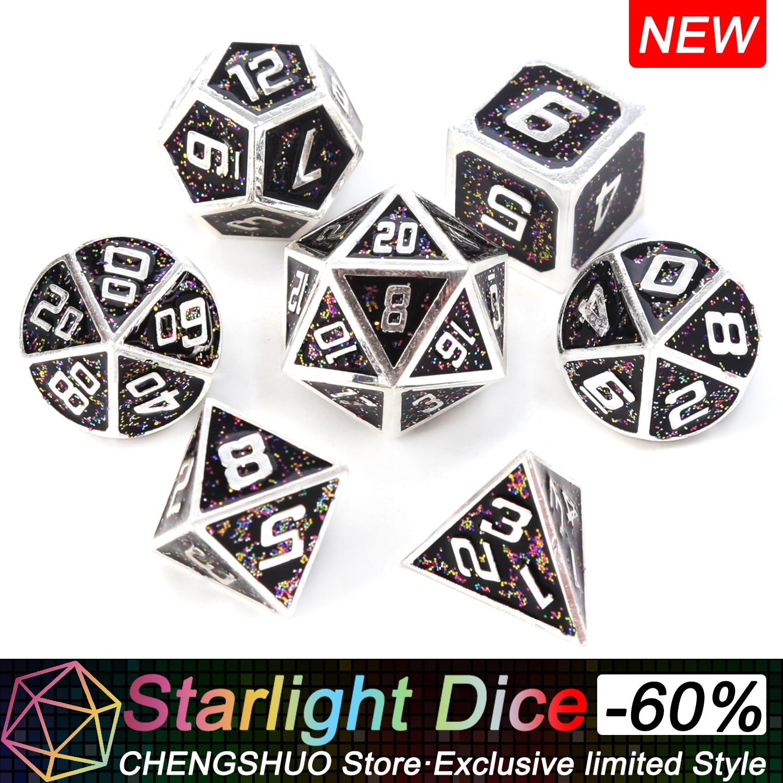 Chengshuo luz das estrelas de metal jogo de rpg dices poliédrica dos dados dnd dungeons sólida e jogos de mesa dragão liga de Zinco preto d & d dados 7pcs