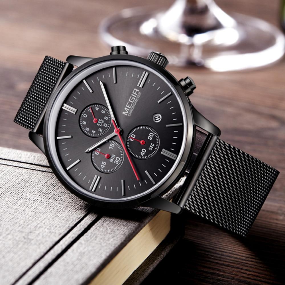 Megir 2016 top brand luxury chronograph Stainless Steel black silver - Men's Watches