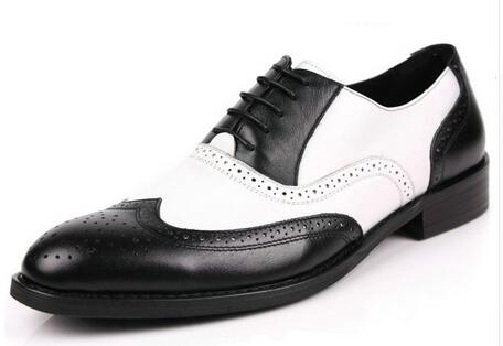 black and white mens shoes dress genuine leather oxford