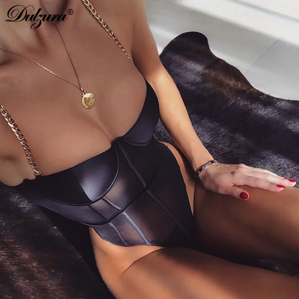 Dulzura summer women bodysuit mesh hollow out chain <font><b>sexy</b></font> backless one piece rompers <font><b>festival</b></font> body overalls clothes see through image