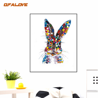 QFALOVE Colorful Cat Hand Painted Oil Painting On Canvas Home Decor Abstract Animal Palette Knie Wall