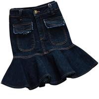 2019 spring summer denim skirt irregular high waist ruffled women anti light pleated jeans mini skirt