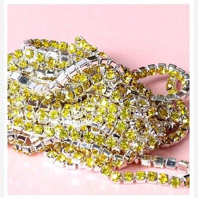 1 ярд/шт, 30 цветов, стеклянные хрустальные стразы на цепочке, Серебряное дно, Пришивные цепочки для рукоделия, украшения сумок для одежды - Цвет: Lemon yellow