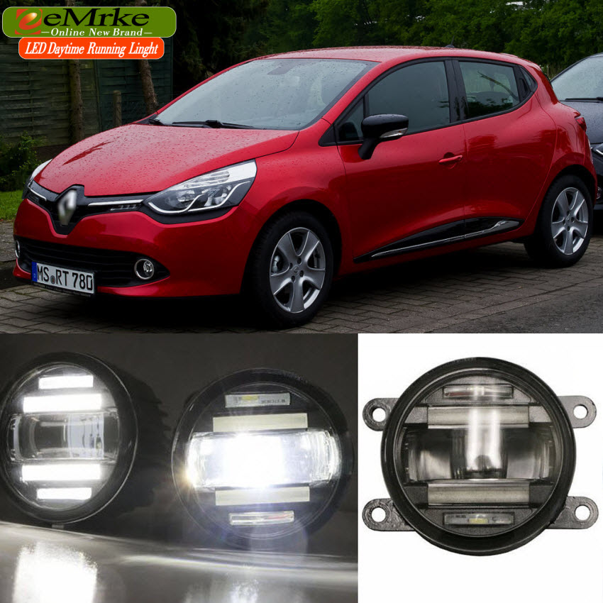 eeMrke Xenon White High Power 18W 2 in 1  LED DRL Projector Fog Lamp With Lens Daytime Running Lights For Renault Clio 4 IV high quality h3 led 20w led projector high power white car auto drl daytime running lights headlight fog lamp bulb dc12v