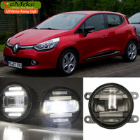 eeMrke Xenon White High Power 18W 2 in 1 LED DRL Projector Fog Lamp With Lens Daytime Running Lights For Renault Clio 4 IV