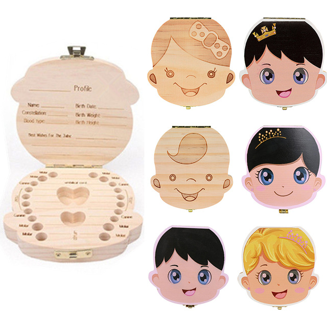Baby Tooth Box Portugal /Dutch/English  Organizer Save  Milk Teeth Organizer Wood Storage Box Tooth Album Keepsake Souvenir  Box