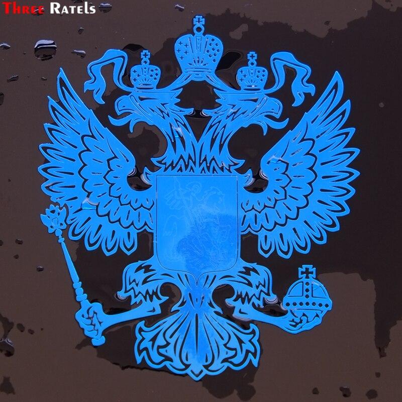 Three Ratels FSMT-017# 9.2*8cm 6*5.2cm Metal Nickel Car Sticker Double-headed Eagle Coat Of Arms Russian National  Emblem