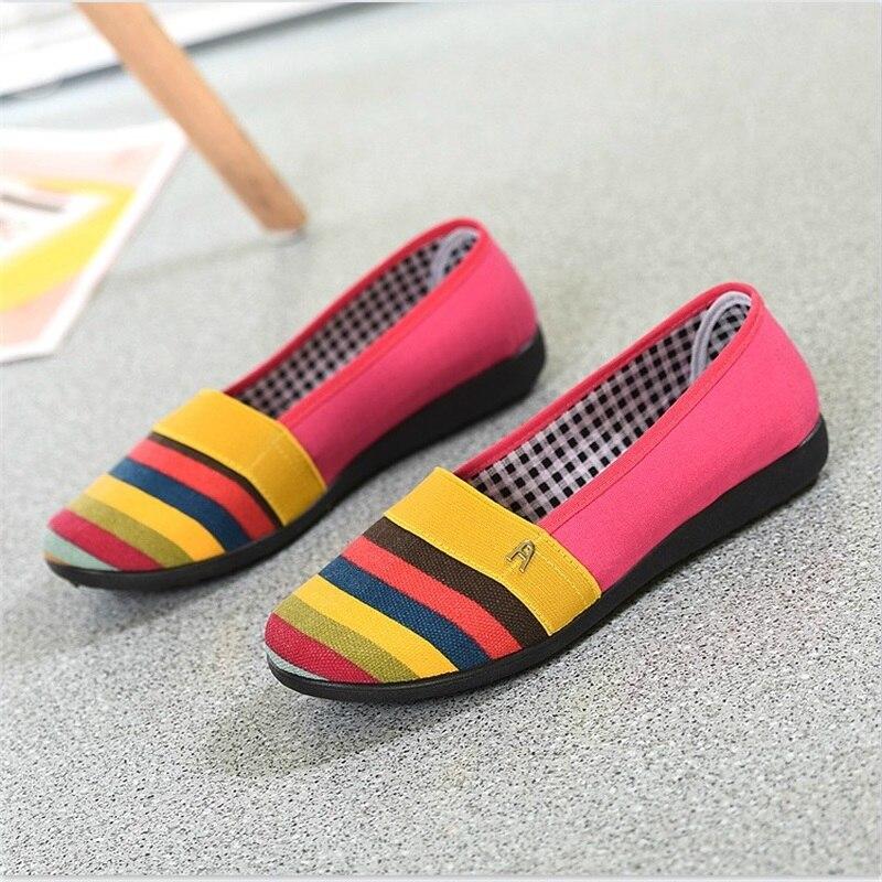 Automne Seule Jambes Larges Non glissement orange Nouvelles jaune Toile Chaussures Plates Rayé Peu Femmes Profonde D'été De Paresseux À Gris fp8A08