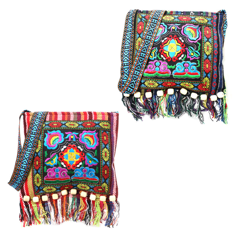 THINKTHENDO Embroidery Hill Tribe Totes Messenger Tassels Bag Boho Hippie Style