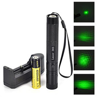 2 In1 High Power 5mw 532nm Adjustable Focus Green Laser Pointer 1X18650+Charger