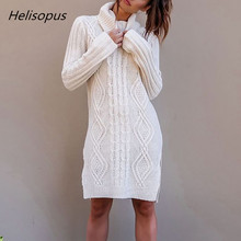 Helisopus Autumn Winter Women Sweater Dress Vintage Solid Warm Long Turtleneck Sweaters Plus Size Female Pullover Knitted Tops autumn winter sweaters dress 2019 women turtleneck knitted pullovers sweater high quality long female vintage thick warm dress