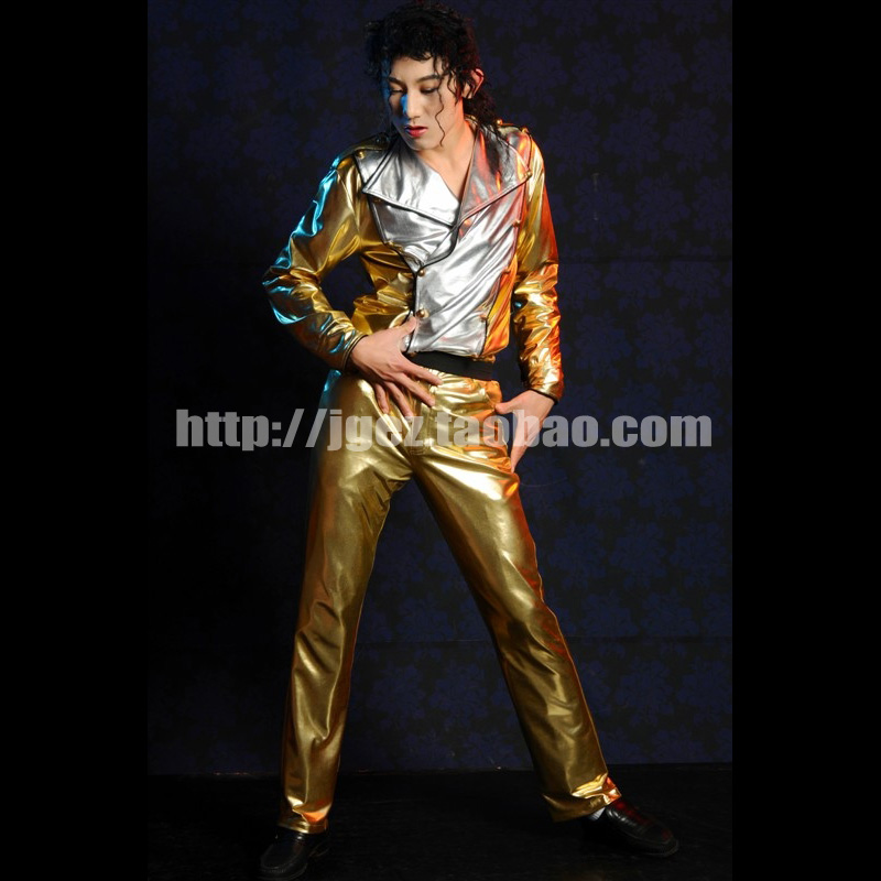 MJ Michael Jackson History Golden Jacket and Pants Costume Cosplay for Fans