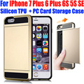 Для IPhone 7 Plus 6 S Плюс 6 5S SE Мода Слайд-Тонкий броня С Карты Памяти ПК + Кремний ТПУ Case для iPhone 7 IP704