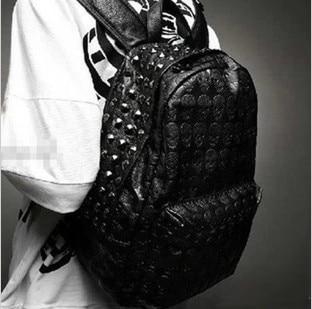 062918 Newhotstacy Unisex Women Men Skull Print PU Leather Backpack Rivet School Bags