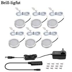 3/6 pces diodo emissor de luz sob a luz do armário 12 v 2.5 w luzes da noite do armário de cozinha casa roupeiro balcão mobília prateleira lâmpada com interruptor