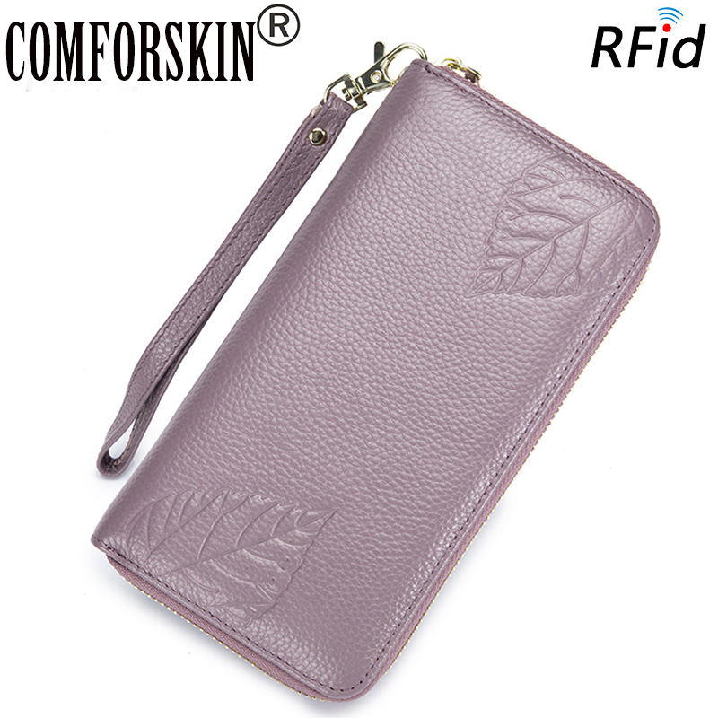 COMFORSKIN Billetera Mujer Genuine Leather Guaranteed 100% Hot Fashion Wallets New Arrivals RFID Embossing Flower Womens Purses