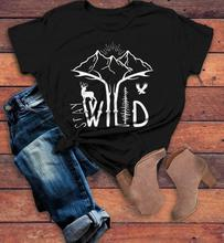 STAY WILD t-shirt grunge tumblr street style cotton Mountain tree aesthetic quote graphic funny women vintage tee top