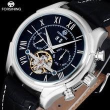 2016 FORSINING Мода марка мужчины часы siliver римские цифры/точка tourbilion relogio masculino Наручные Часы для мужчин/A808