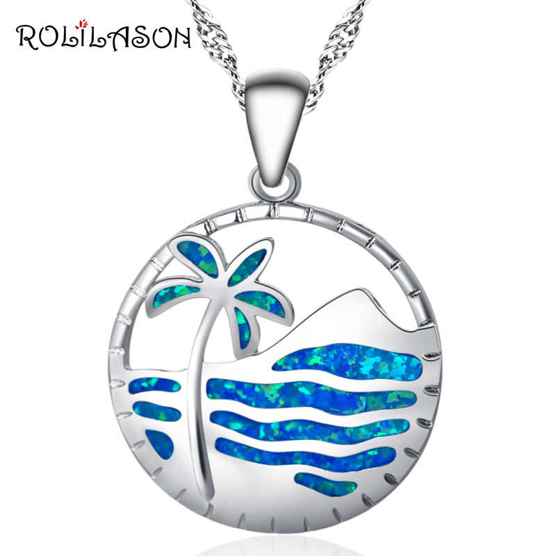 ROLILASON Round Beach coconut trees Blue Fire Opal Silver Stamped 925 Necklace Pendants for women OP751