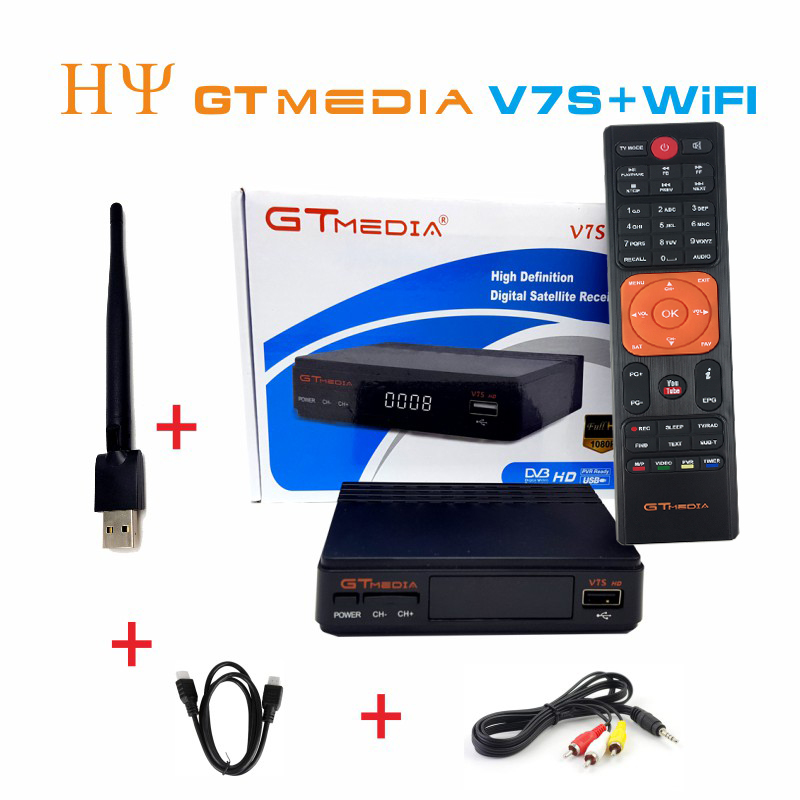 5/10 pcs GTMEDIA V7S HD + WIFI Antena PowerVU CLINES DVB-S2 HD Youtube Newcamd receptor de satélite Set top caixa melhor freesat v7