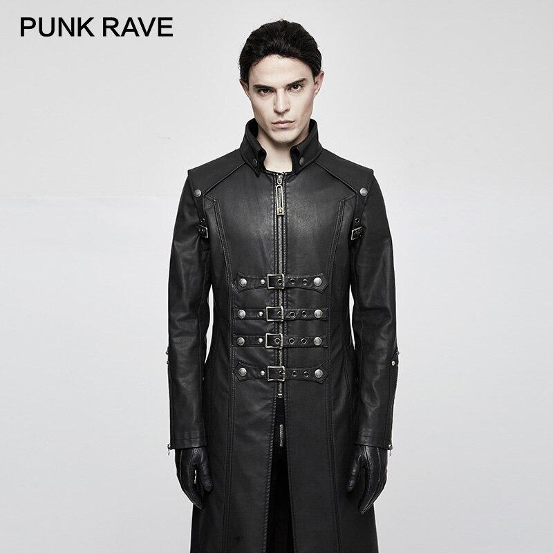 PUNK RAVE Punk Rock Unique à la mode lourd PU cuir Parka Trench avec crâne décoration hiver gothique croix manteaux vestes