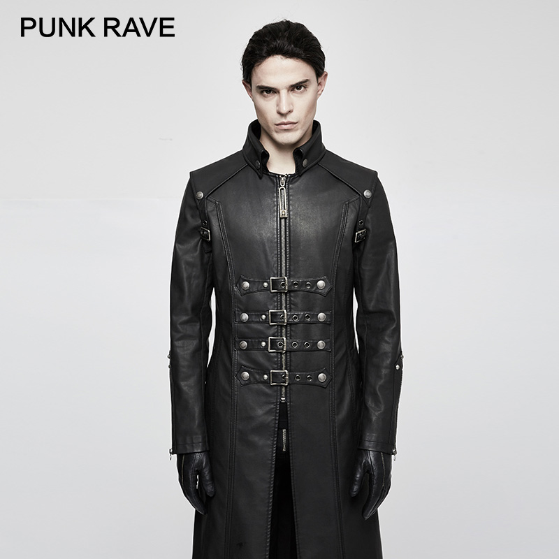 Modische Y Y Gothic Schwere Leder Jacken Mit Rave Punk Black Pu Graben 809 Mäntel coffee Schädel Rock Winter Parka Einzigartige 809 Dekoration Kreuz x4tft1Cqw