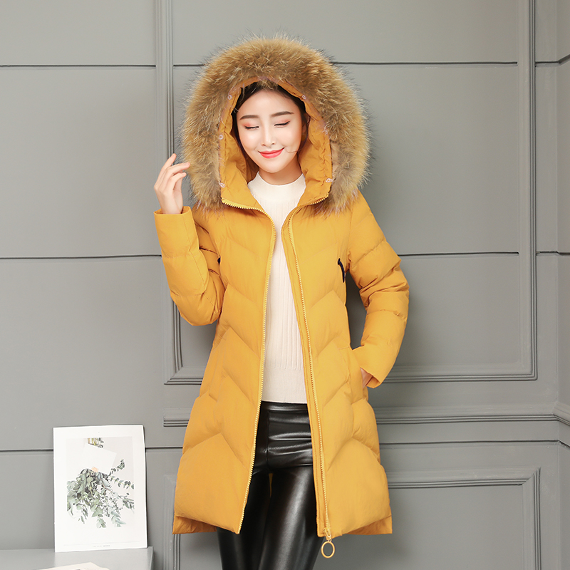 Coton Mujer My438 Col Parkas Veste Coréenne 2018 Épais Hiver Green Slim Femmes gray Red Vintage Fourrure yellow black Manteau Kmetarm Parka Femme Long Orange De red Down wOHUxq88
