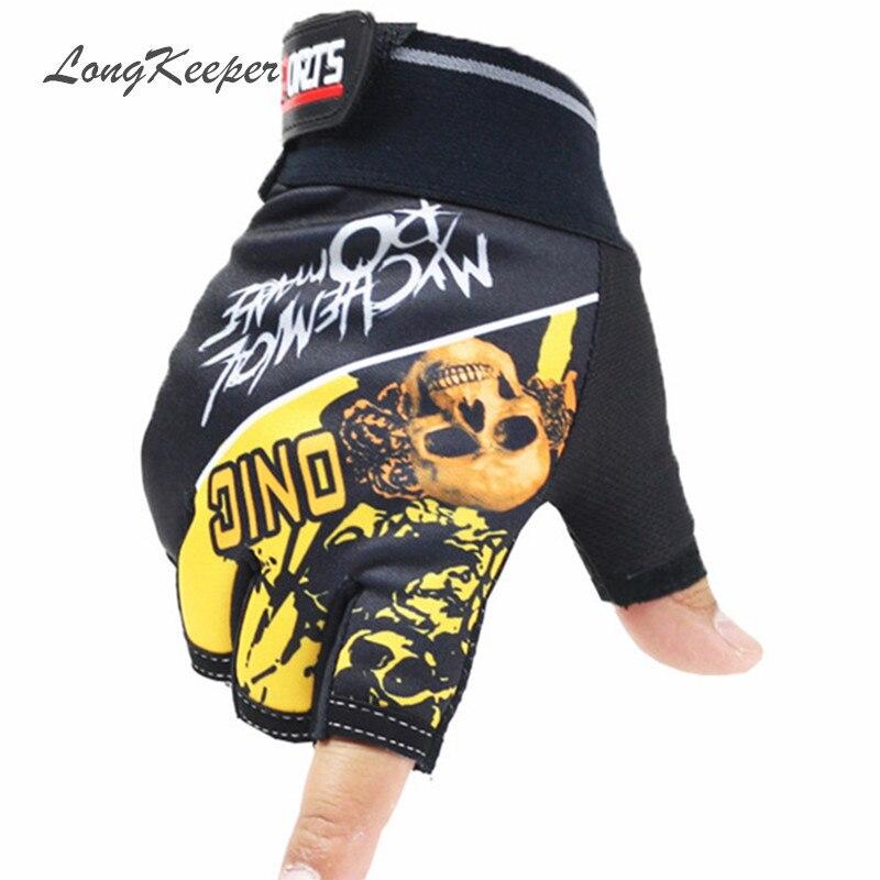 LongKeeper New Fashion 2017 Men's Gloves High Quality Skull Fingerless Glove Men Half Finger Gloves Guantes Mujer