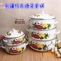 As características de Xinjiang panela de esmalte pote com tampa os ouvidos pintado à mão cinco peças pan Islâmico características talheres