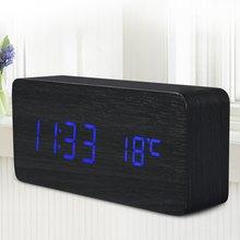 Usb/aaa despertador control sound будильник температуры настольные деревянные электронный светодиодный цифровой